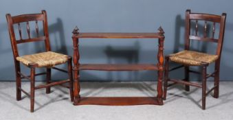 A Pair of Victorian Child's Stained Wood Chairs and a Mahogany Three-Tier Serpentine Fronted Wall