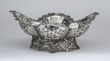 A Late Victorian Silver Oval Basket, by James Dixon & Sons, Sheffield 1894, of lobed form, with