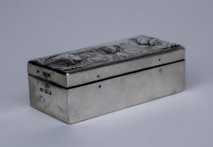 A Late Victorian Silver Mounted Three Division Rectangular Stamp Box, by William Comyns, London