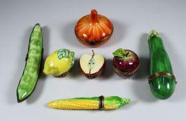 Seven Limoges Porcelain Fruit and Vegetable Trinket Box Models, Late 20th Century, including a broad