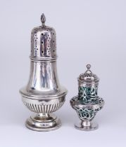 A Victorian Silver and Green Glass Lined Castor and a George VI Silver Sugar Caster, the Victorian