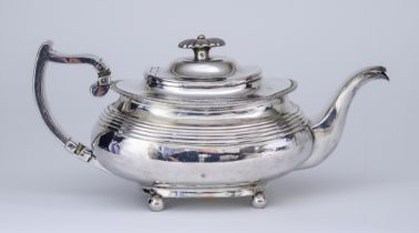 A William IV Silver Rectangular Teapot, by Edward Barton, London 1833, with gadroon mounts, reeded