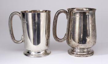 An Edward VII Silver Tankard, and a George V Silver Tankard, the Edward VII, by Aitkin Brothers,