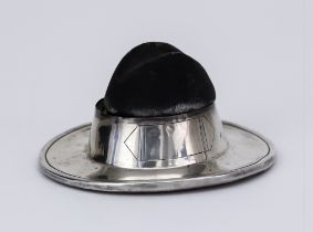 A George V Silver Novelty Pin Cushion of Scout or Military Hat Pattern, by S. Blanckensee, Chester