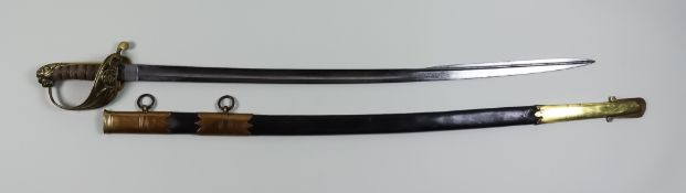 An East India Company Naval Officers Sword, with flat back, spear point blade, 29ins bright steel