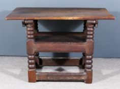 An Old Oak Monks Bench, with plain folding top on heavy turned supports with block feet and plain