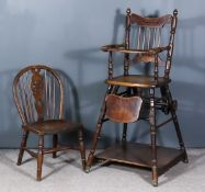 A Victorian Child's Metamorphic High Chair, with turned spindles to back and on turned underframe,