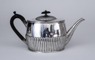 A Victorian Silver Oval Teapot, by F.B. Thomas & Co, London 1883, the domed cover with ebonised