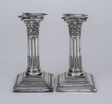A Pair of Edward VII Silver Pillar Candlesticks, By Robert Pringle & Sons, London 1909, with