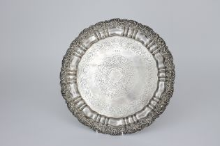 A Late Victorian Silver Circular Salver, makers mark rubbed, Birmingham 1900, the shaped and moulded