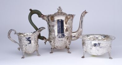 An Elizabeth II Irish Silver Cylindrical Three Piece Tea Service, by Royal Irish Silver Co.,
