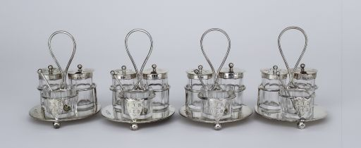A Set of Four Late Victorian Silver Circular Three Division Cruets, by Horace Woodward & Co Ltd,