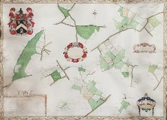 """Jared Hill (Early 18th Century English School) - Ink and watercolour on vellum - """"A Mappe and"""
