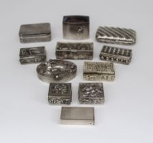 An Elizabeth II Silver Rectangular and Blue John Pill Box and a Selection of Silver, and White Metal