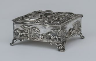 An Edward VII Silver Square Dressing Table Box, by Thomas Hayes, Birmingham 1902, the cover with