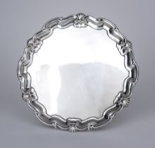 An Edward VII Silver Circular Salver, by James Dixon & Son, Sheffield 1906, the shaped and moulded