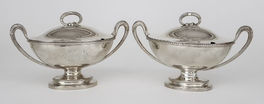 A Pair of Late George III Silver Oval Two-Handled Sauce Tureens and Covers, by John Wakelin &