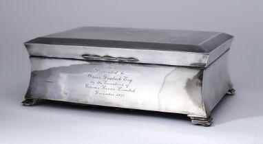 A George V Large Silver Rectangular Cigarette Box, by Charles S. Green & Co., Ltd., Birmingham 1929,