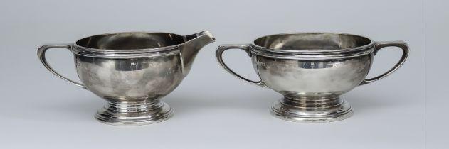 A George VI Silver Circular Two-Handled Sugar Basin and Matching Milk Jug, by Mappin & Webb,