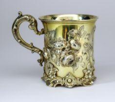 A Victorian Silver Gilt Christening Mug, by Edward John & William Barnard, London 1847, and retailed