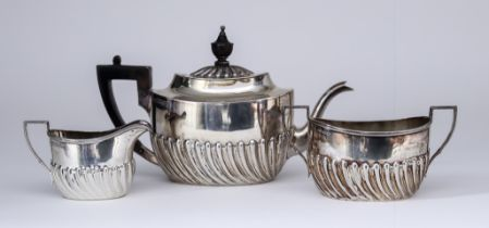 A Late Victorian Bachelors Silver Oval Three Piece Tea Set, by Harrison Brothers & Howson, Sheffield