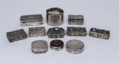 An Elizabeth II Silver Rectangular Snuff Box and a Selection of Silver, and White Metal Boxes, the