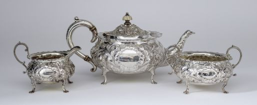 I* A Late Victorian Bachelors Silver Three Piece Tea Service, by Horace Woodward & Co Ltd., London