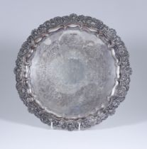 A Late Victorian Silver Circular Salver, by Boardman, Glossop & Co, Sheffield 1899, the shaped and