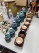 SET OF SIX POTERIE DU SOLEIL, SALERNES, FRENCH BLUE GLAZED TERRACOTTA GRADUATED STORAGE JARS AND