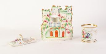 LATE 19th CENTURY MEISSEN PORCELAIN SLIPPER FORM POSY HOLDER, enamelled with a floral bouquet and