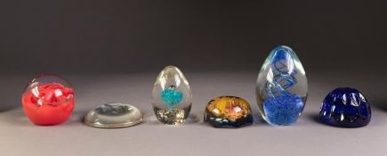 CAITHNESS ?INFERNO? GLASS PAPERWEIGHT, and FIVE OTHERS, including a cone shaped example with