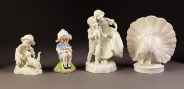 MID VICTORIAN MINTON WHITE GLAZED PORCELLANEOUS SPILL OR POSY HOLDER in the form of a dove,