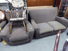 1950'S LOUNGE SUITE OF THREE PIECES, COVERED IN BROWN PATTERNED MOQUETTE