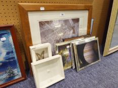 THREE FRAMED PICTURES OF THE PLANETS, AN AERIAL PHOTOGRAPH AND TWO BUTTERFLY SPECIMENS, IN BOX FRAME