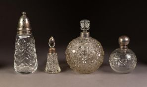 THREE CUT GLASS PERFUME BOTTLES WITH SILVER COLLARS, two orbicular, one with screw-off silver cover,