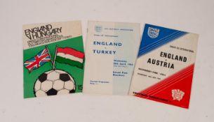 THREE ENGLAND UNDER 23s PROGRAMMES, v Turkey Ewood Park 1966, v Austria Boothferry Park Hull 1967,