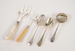 ELECTROPLATED BREAD KNIFE WITH MOTHER OF PEARL HANDLE, together with FOUR PIECES OF SERVING CUTLERY,
