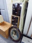 EARLY 20TH CENTURY TINTED PORTRAIT PHOTOGRAPH, IN OVAL WALNUT FRAME AND TWO ROBING MIRRORS (3)