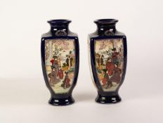 PAIR OF EARLY 20th CENTURY JAPANESE EARTHENWARE SQUARE SECTION VASES, each painted with opposing