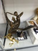 BRONZED METAL EAGLE ON MARBLE PLINTH, BRASS HORSE AND A COMPOSITION ART DECO FIGURE OF A FEMALE (3)