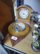 LIGHT OAK CASED QUARTZ MANTEL CLOCK; A HERMLE OAK MANTEL CLOCK WITH THREE SUBSIDIARY DIALS FOR