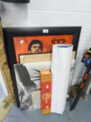 MIXED LOT OF PRINTS, POSTERS AND A CHINESE SCROLL (QUANTITY)