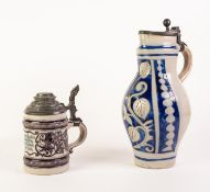 RHINEISH SALT GLAZED POTTERY LARGE JUG WITH HINGED PEWTER COVER, of ovoid form with scroll handle,