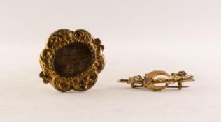 VICTORIAN GOLD COLOURED METAL BAR AND CRESCENT BROOCH entwined with a trailing vine, 1 3/4in (4.4cm)
