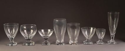 PART TABLE SERVICE OF PEILL, GERMANY STEM WINES, with arch cut waisted stems to square foot,