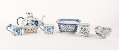 SIX PIECES OF MODERN ORIENTAL BLUE AND WHITE PORCELAIN, comprising: PETAL SHAPED DISH, printed