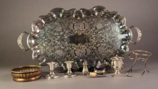 MIXED LOT ELECTROPLATE, to include: TWO HANDLED ROUND OBLONG TEA TRAY with chased floral centre