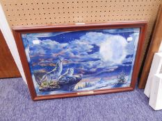 BRADFORD EXCHANGE LIMITED EDITION 'MOONLIGHT REVERIE' STAINED GLASS PANORAMA, FRAMED,