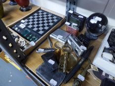 CONCORD DIGITAL CAMERA; TABLE MAGNIFYING GLASS ON HEAVY METAL STAND; SMALL HIP FLASK; RADIO