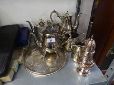 A SELECTION OF VICTORIAN AND LATER ELECTROPLATE TO INCLUDE; A THREE PIECE TEA SERVICE, TEAPOT, SUGAR